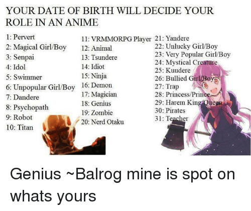 your date of birth will decide your role in an 4301482 🇲🇽 25 best memes about tsundere tsundere memes