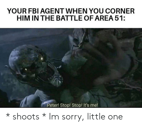 Fbi, Sorry, and Area 51: YOUR FBI AGENT WHEN YOU CORNER  HIM IN THE BATTLE OF AREA 51:  Peter! Stop! Stop! It's me! * shoots * Im sorry, little one