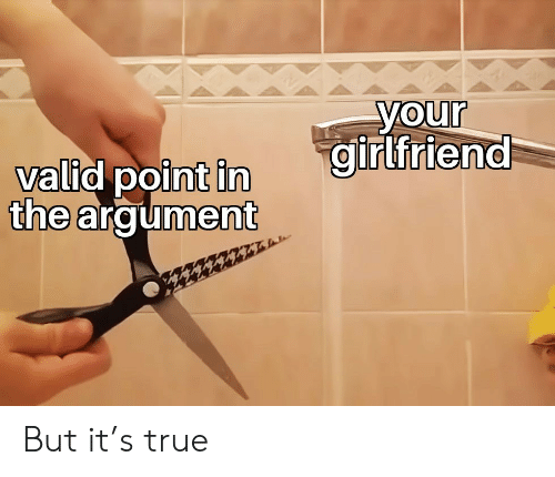 True, Girlfriend, and Argument: your  girlfriend  valid point in  the argument But it's true