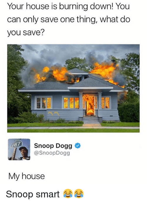 Snooping: Your house is burning down! You  can only save one thing, what do  you save?  187  Snoop Dogg  @SnoopDogg  My house Snoop smart 😂😂