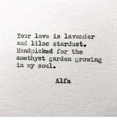 alfa: Your love is lavender  and lilac stardust.  Handpicked for the  amethyst garden growing  in my soul.  Alfa
