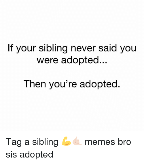 Memes, Never, and 🤖: your sibling never said you  Were adopted..  Then you're adopted Tag a sibling 💪🤙🏻 memes bro sis adopted