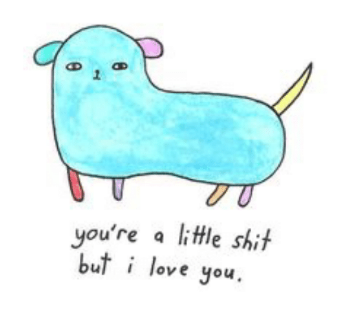 Love, You, and Love You: you're a little shit  u love you