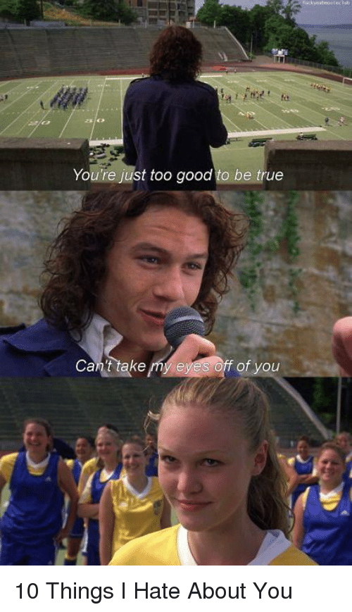 10 Things I Hate About You: You're just too good to be true  Can't take my e  f of you 10 Things I Hate About You