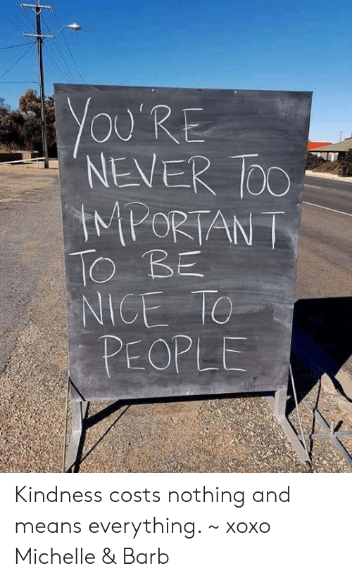 Memes, Kindness, and Never: YOU'RE  NEVER DO  IMPORTAN T  O BE  NICE TC  PEOPLE Kindness costs nothing and means everything. ~ xoxo Michelle & Barb