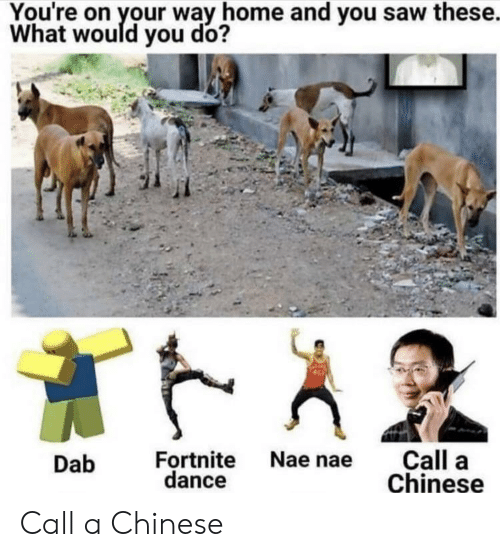 Nae Dance: You're on your way home and you saw these.  What would you do?  Call a  Chinese  Fortnite Nae nae  dance  Dab Call a Chinese