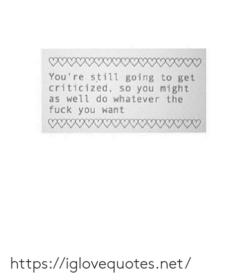 Net, You, and Still: You're still going to get  criticized, so you might  as well do whatever the  fuck you want https://iglovequotes.net/