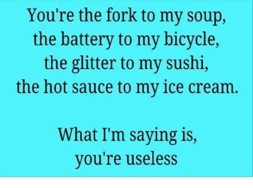 Sauced: You're the fork to my soup,  the battery to my bicycle,  the glitter to my sushi,  the hot sauce to my ice cream  What I'm saying is,  you're useless