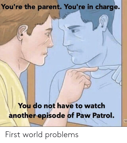 PAW Patrol: You're the parent. You're in charge.  You do not have to watch  another episode of Paw Patrol. First world problems