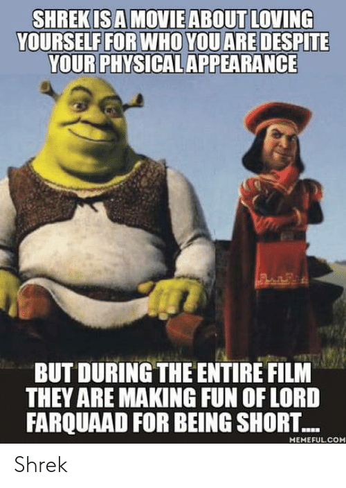 lord farquaad: YOURSELF FOR WHO YOU ARE DESPITE  YOUR PHYSICAL APPEARANCE  BUT DURING THE ENTIRE FILM  THEY ARE MAKING FUN OF LORD  FARQUAAD FOR BEING SHORT...  MEMEFUL CO Shrek