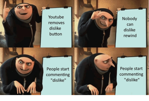 """youtube.com, Can, and People: Youtube  removes  dislike  button  Nobody  can  dislike  rewind  People start  commenting  """"dislike""""  People start  commenting  """"dislike"""""""