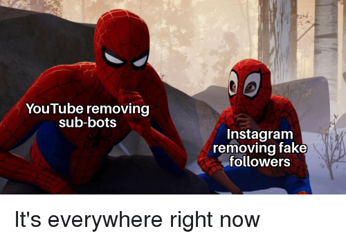 Fake, Instagram, and Reddit: YouTube removing  sub-bots  Instagram  removing fake  followers It's everywhere right now