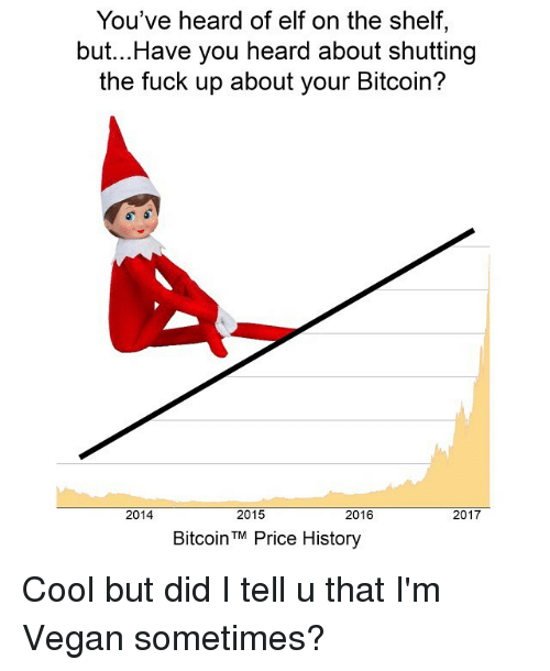 Youve Heard Of Elf On The Shelf: You've heard of elf on the shelf,  but...Have you heard about shutting  the fuck up about your Bitcoin?  2014  2015  2016  2017  BitcoinTM Price History Cool but did I tell u that I'm Vegan sometimes?