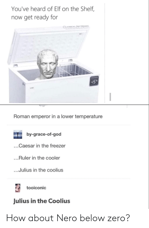 "Youve Heard Of Elf On The Shelf: You've heard of Elf on the Shelf,  now get ready for  Sull  -15""  Roman emperor in a lower temperature  by-grace-of-god  ...Caesar in the freezer  ...Ruler in the cooler  ....Julius in the coolius  tooiconic  Julius in the Coolius How about Nero below zero?"