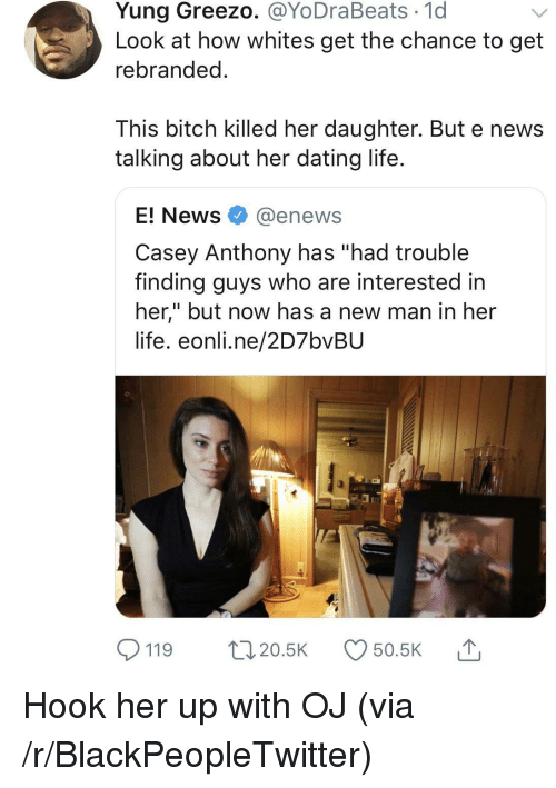 """Bitch, Blackpeopletwitter, and Dating: Yung Greezo. @YoDraBeats 1d  Look at how whites get the chance to get  rebranded  This bitch killed her daughter. But e news  talking about her dating life  E! News @enews  Casey Anthony has """"had trouble  finding guys who are interested in  her,"""" but now has a new man in her  life. eonli.ne/2D7bvBU  119 20.5 50.5K Hook her up with OJ (via /r/BlackPeopleTwitter)"""