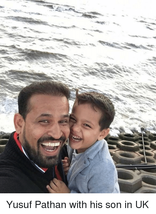 Memes, 🤖, and Son: Yusuf Pathan with his son in UK