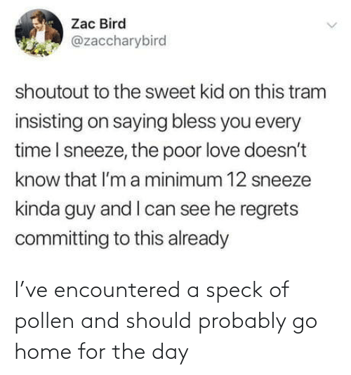 bird: Zac Bird  @zaccharybird  shoutout to the sweet kid on this tram  insisting on saying bless you every  time I sneeze, the poor love doesn't  know that l'm a minimum 12 sneeze  kinda guy and I can see he regrets  committing to this already I've encountered a speck of pollen and should probably go home for the day