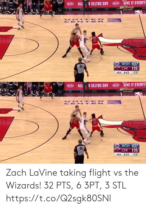 pts: Zach LaVine taking flight vs the Wizards!   32 PTS, 6 3PT, 3 STL https://t.co/Q2sgk80SNl