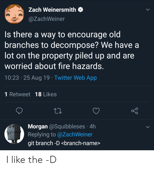 morgan: Zach Weinersmith  @ZachWeiner  Is there a way to encourage oldi  branches to decompose? We have a  lot on the property piled up and are  worried about fire hazards.  10:23 25 Aug 19 Twitter Web App  1 Retweet 18 Likes  Morgan @Squibbleses 4h  Replying to @ZachWeiner  git branch -D <branch-name> I like the -D