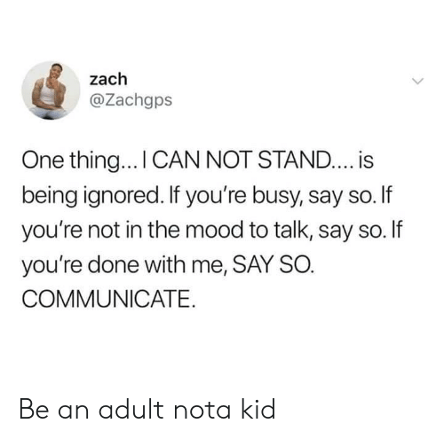 Say So: zach  @Zachgps  One thing... I CAN NOT STAND.... is  being ignored. If you're busy, say so.If  you're not in the mood to talk, say so. If  you're done with me, SAY SO.  COMMUNICATE Be an adult nota kid