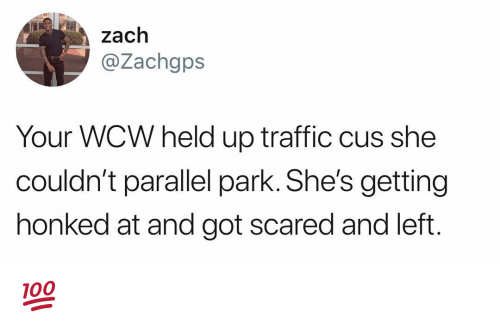 Memes, Traffic, and Wcw: zach  @Zachgps  Your WCW held up traffic cus she  couldn't parallel park. She's getting  honked at and got scared and left 💯