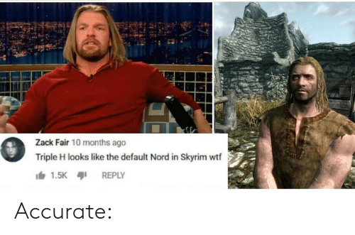 Skyrim, Wtf, and Triple H: Zack Fair 10 months ago  Triple H looks like the default Nord in Skyrim wtf  1.5K  REPLY Accurate: