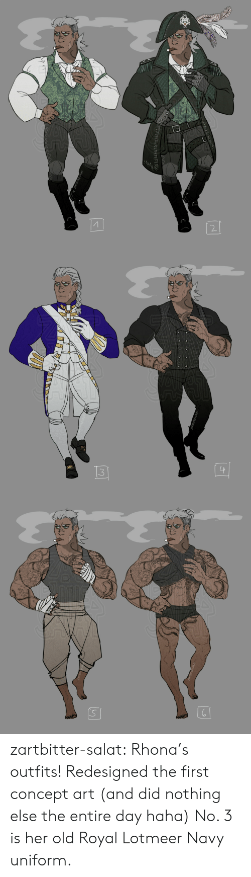 Navy: ZARTBITTER PIGAT  RTBITTERPIGAT  র{(टৰ   3  ZARTBITTER-SAGAT   S  ussde zartbitter-salat:  Rhona's outfits! Redesigned the first concept art (and did nothing else  the entire day haha) No. 3 is her old Royal Lotmeer Navy uniform.