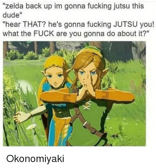"Dude, Fucking, and Jutsu: ""zelda back up im gonna fucking jutsu this  dude""  ""hear THAT? he's gonna fucking JUTSU you!  what the FUCK are you gonna do about it?"" Okonomiyaki"