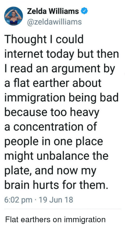 Bad, Internet, and Brain: Zelda Williams  @zeldawilliams  Thought l could  internet today but then  I read an argument by  a flat earther about  immigration being bad  because too heavy  a concentration of  people in one place  might unbalance the  plate, and now my  brain hurts for them.  6:02 pm 19 Jun 18 Flat earthers on immigration