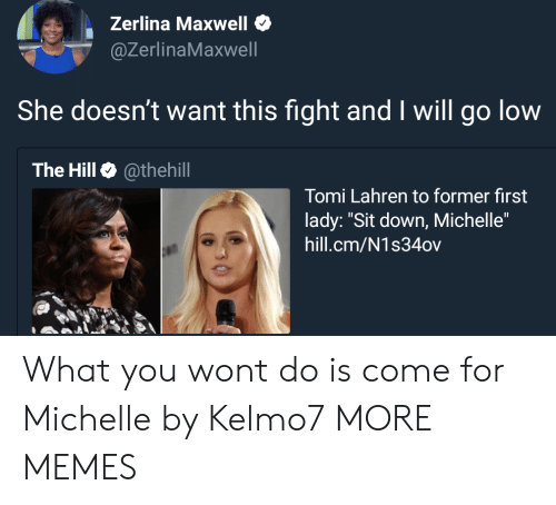"maxwell: Zerlina Maxwell  @ZerlinaMaxwell  She doesn't want this fight and I will go low  The Hill @thehill  Tomi Lahren to former first  lady: ""Sit down, Michelle""  hill.cm/N1s34ov What you wont do is come for Michelle by Kelmo7 MORE MEMES"