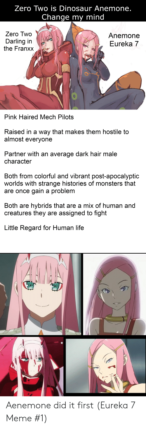 Anime, Dinosaur, and Life: Zero Two is Dinosaur Anemone.  Change my mind  Zero Two  Anemone  Eureka 7  Darling in  the Franxx  Pink Haired Mech Pilots  Raised in a way that makess them hostile to  almost everyone  Partner with an average dark hair male  character  Both from colorful and vibrant post-apocalyptic  worlds with strange historiess of monsters that  are once gain a problem  Both are hybrids that are a mix of human and  creatures they are assigned to fight  Little Regard for Human life  背 Aenemone did it first (Eureka 7 Meme #1)