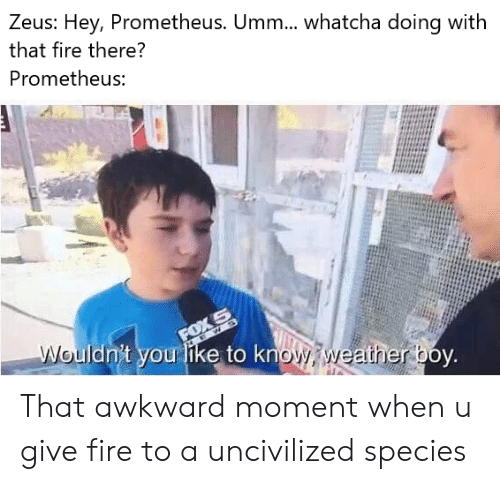 Fire, Awkward, and That Awkward Moment: Zeus: Hey, Prometheus. Umm.... whatcha doing with  that fire there?  Prometheus:  FOX S  Wouldn't you like to know weatherboy. That awkward moment when u give fire to a uncivilized species