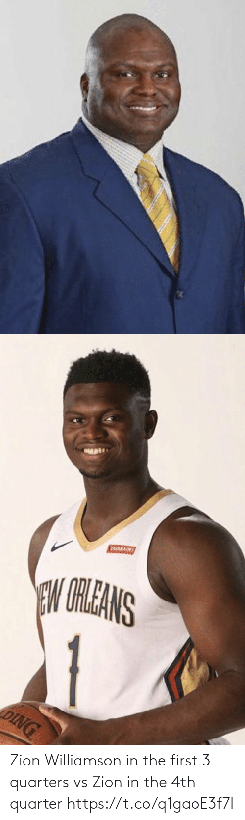 first: Zion Williamson in the first 3 quarters vs Zion in the 4th quarter https://t.co/q1gaoE3f7I