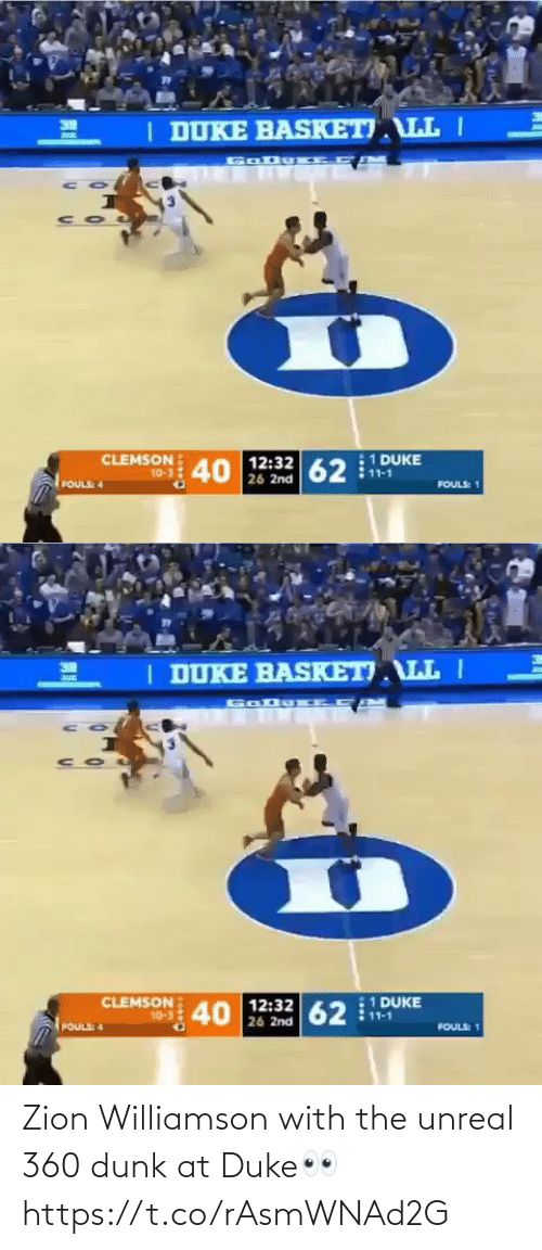 unreal: Zion Williamson with the unreal 360 dunk at Duke👀 https://t.co/rAsmWNAd2G