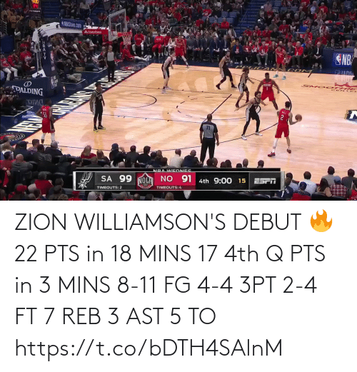reb: ZION WILLIAMSON'S DEBUT 🔥  22 PTS in 18 MINS 17 4th Q PTS in 3 MINS 8-11 FG 4-4 3PT 2-4 FT 7 REB 3 AST  5 TO  https://t.co/bDTH4SAlnM