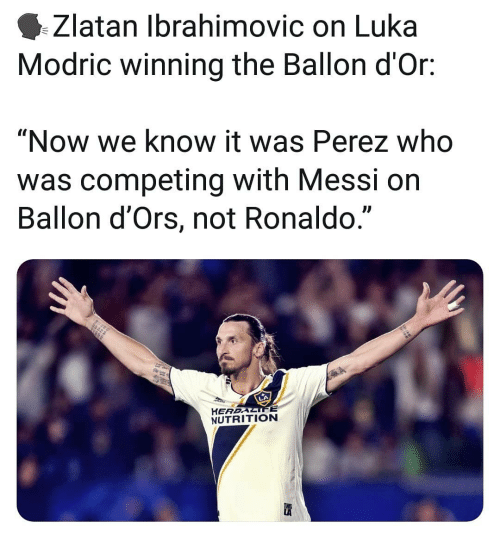 "zlatan: Zlatan Ibrahimovic on Luka  Modric winning the Ballon d'Or:  ""Now we know it was Perez who  was competing with Messi on  Ballon d'Ors, not Ronaldo.""  L)  HEREALIFE  NUTRITION"