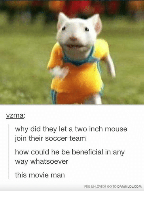 Man Feelings: Zma.  why did they let a two inch mouse  join their soccer team  how could he be beneficial in any  way whatsoever  this movie man  FEEL UNLOVED? GO TO DAMNLOLCOM