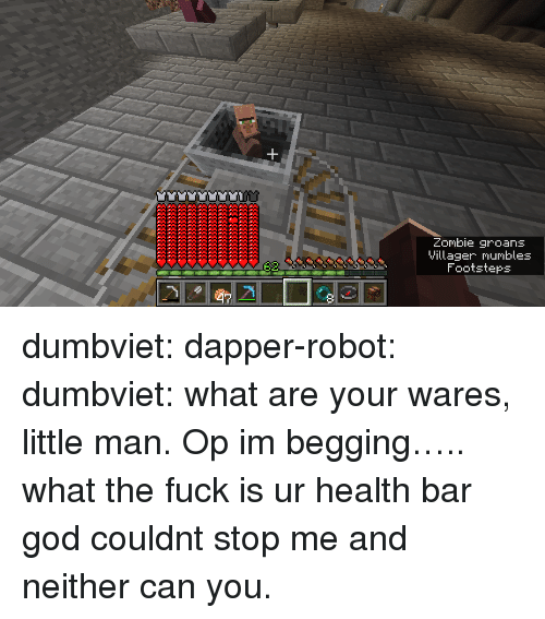 villager: Zombie groans  Villager mumbles  Footsteps dumbviet:  dapper-robot:  dumbviet: what are your wares, little man.  Op im begging….. what the fuck is ur health bar   god couldnt stop me and neither can you.
