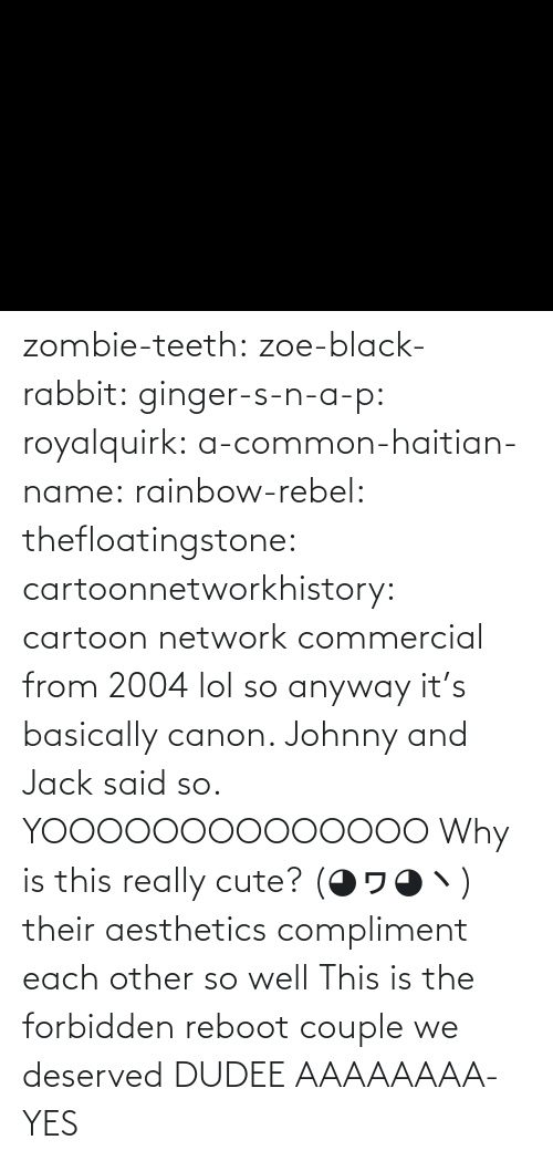 Basically: zombie-teeth:  zoe-black-rabbit:   ginger-s-n-a-p:  royalquirk:  a-common-haitian-name:  rainbow-rebel:   thefloatingstone:  cartoonnetworkhistory: cartoon network commercial from 2004 lol so anyway it's basically canon. Johnny and Jack said so.    YOOOOOOOOOOOOOO    Why is this really cute? (◕ヮ◕ヽ)  their aesthetics compliment each other so well    This is the forbidden reboot couple we deserved    DUDEE AAAAAAAA-    YES