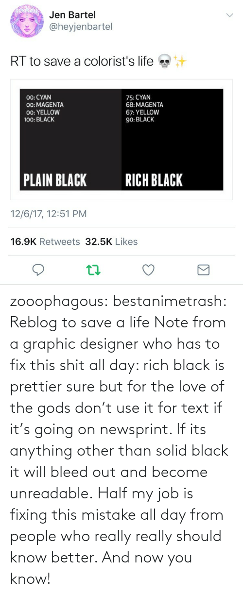 Reblog: zooophagous:  bestanimetrash: Reblog to save a life  Note from a graphic designer who has to fix this shit all day: rich black is prettier sure but for the love of the gods don't use it for text if it's going on newsprint. If its anything other than solid black it will bleed out and become unreadable. Half my job is fixing this mistake all day from people who really really should know better. And now you know!