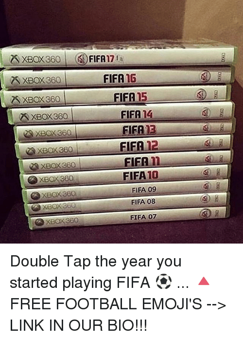 Fifa 15: ZSXBOX360|  (i,FIFA17%  FIFA 16  XBOX 360  XBOX 360  A XBOX360  AXBOX360  FIFA 15  FIFA 14  FIFA 13  FIFA 12  XBOX 360  EIER n-  FIFA 10  FIFA 09  FIFA 08  FIFA 07  XBOX 360 Double Tap the year you started playing FIFA ⚽️ ... 🔺FREE FOOTBALL EMOJI'S --> LINK IN OUR BIO!!!