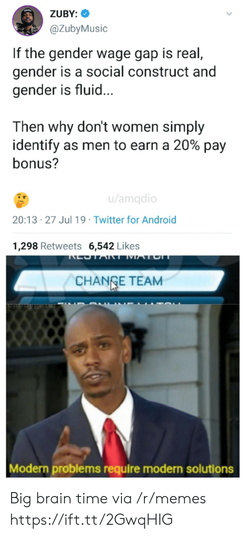 gap: ZUBY:  @ZubyMusic  If the gender wage gap is real,  gender is a social construct and  gender is fluid...  Then why don't women simply  identify as men to earn a 20% pay  bonus?  u/amqdio  20:13 27 Jul 19 Twitter for Android  1,298 Retweets 6,542 Likes  LOTART MATCH  CHANGE TEAM  Modern problems require modern solutions Big brain time via /r/memes https://ift.tt/2GwqHIG