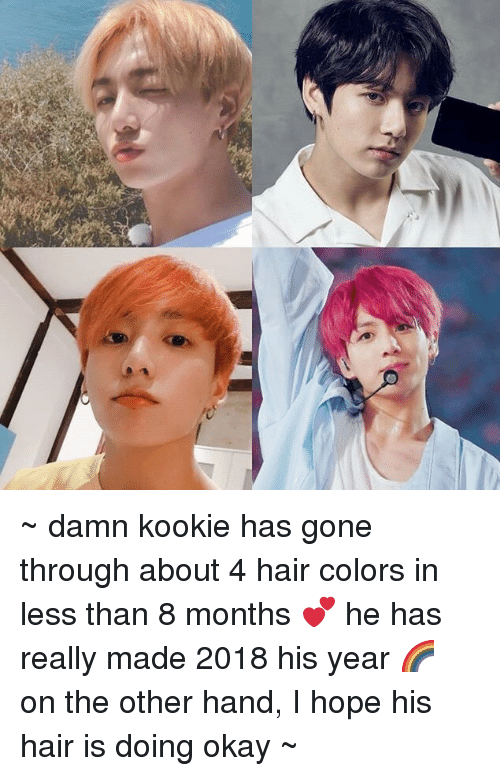 Kookie: ~ damn  kookie has gone through about 4 hair colors in less than 8 months 💕 he has really made 2018 his year 🌈 on the other hand, I hope his hair is doing okay ~